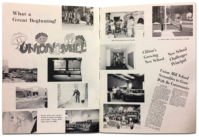 Photograph of pages two and three from Union Mill Elementary School's first yearbook. Titled Union Mill - What a Great Beginning - the pages show photographs of the school at various stages of construction, first day of school activities, and the newspaper article quoted on this webpage.
